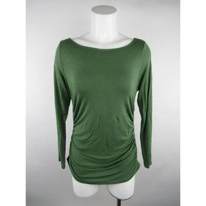 Soft Surroundings Solid Ruched Boat Neck Knit Top